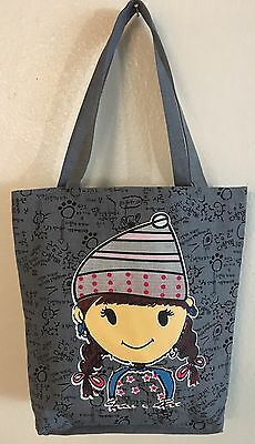 Larg Cute Gray canvas Tote all purpose everyday Bag