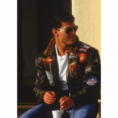 Tom Cruise Pete Maverick Top Gun A2 Jet Fighter Bomber Real Leather Jacket Fur