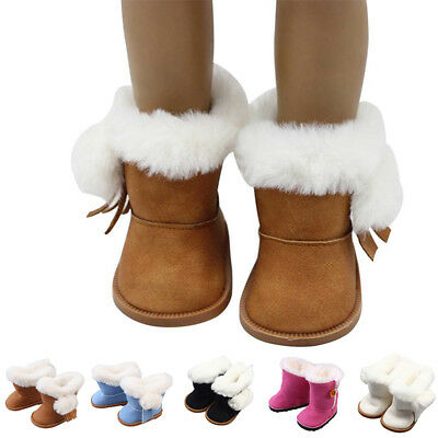 Fashion Bronze Handmade Plush Shoes Boots for 18 inch American Girl Doll Clothes
