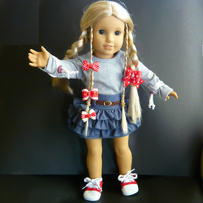 """AMERICAN GIRL DOLL CLOTHES denim SKIRT, warm Top, SNEAKERS & 4 HAIRBOWS fits 18"""""""