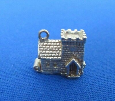 VINTAGE STERLING SILVER BRACELET CHARM CHURCH OPENING TO A WEDDING 2.2 g NUVO