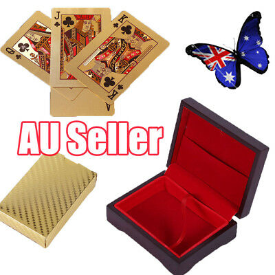 24K Gold Plated Poker Waterproof Playing Cards With Wooden Box Christmas Gift BO