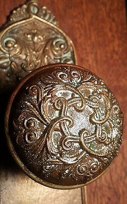 Rare Vintage Old Antique Bronze Copper Door Knob Ornate Design With Plate Key