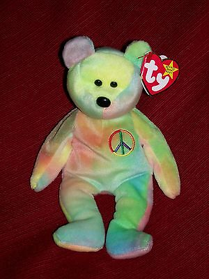 TY BEANIE BABY PEACE  BEAR #115 YELLOW & GREEN COLORS MWMT  5th Gen