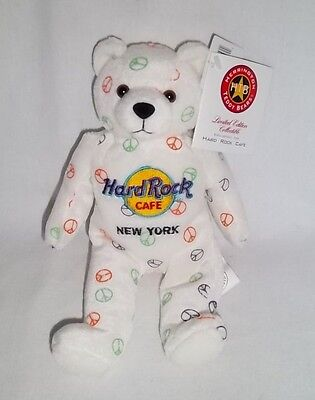 HARD ROCK CAFE NEW YORK Plush PEACE BEARA BEAN BAG White Bear Stuffed Animal Toy