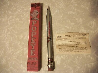 OLD 1929 LARGE POPEYE MECHANICAL PENCIL in BOX-EAGLE PENCIL CO-NR MINT w/PAPER