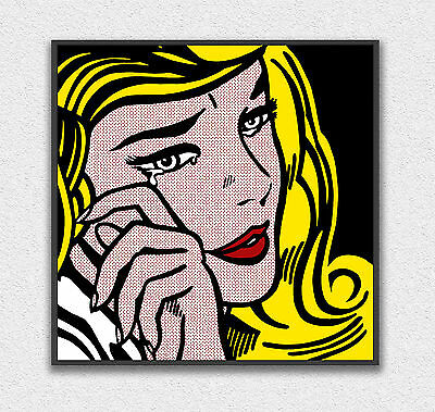 Roy Lichtenstein Girl with Tear 100x70cm STAMPA TELA CANVAS PRINT TOILE LIENZO