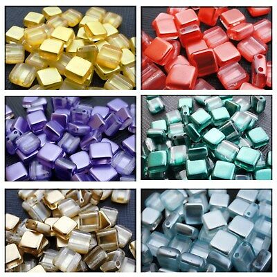 6mm TWO HOLE CZECH TILE BRICK GLASS SQUARE  SPACER BEADS - (20PCS)