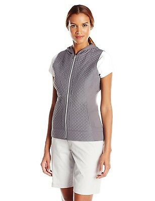 (Large, Sweater Grey) - Cutter & Buck Women's Cb Weathertec Aura Hooded Vest