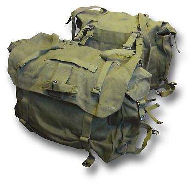1 Pr New Military Canvas Motorcycle Panniers [54013] + Waterproof Liners [72927]