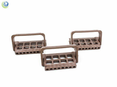 3X Dental Endo File Holder Block Caddy Root Canal W/ Ruler Brown Autoclavable