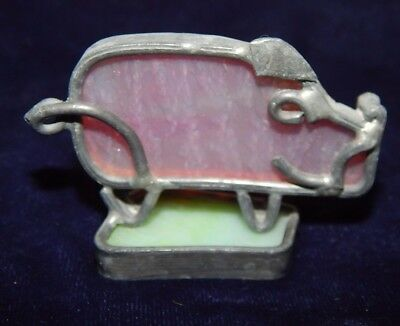 "Small STANDING PINK PIG Leaded Stained Glass 2-3/8"" Long  x 1.75"" Tall"