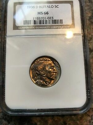 1938 d buffalo nickel, NGC, MS 66 GEM!  Sharp Color!
