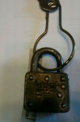 Antique Vintage  Padlock Lock & Key Hardware Working