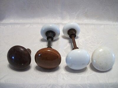 Lot of 6 Vintage Porcelain Door Knobs 4 White, 2 Brown