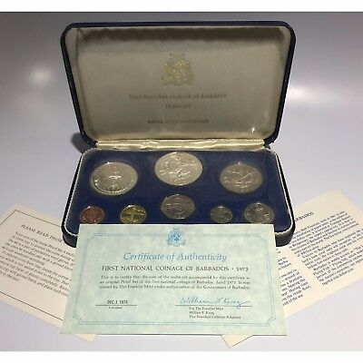 1973 First National Coinage of Barbados Proof Set w/Silver & COAs - Free Ship US