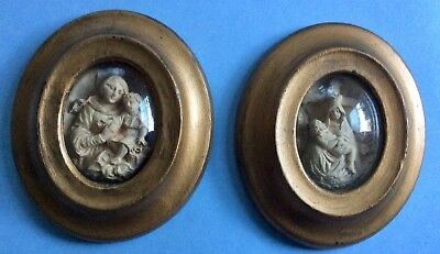 Pair Of Antique French Religious Meerschaum Relics Reliquary Icon Mary Christ