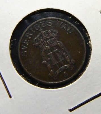 Sweden 2 Ore 1906 Older Date Swedish Bronze Coin -  G70