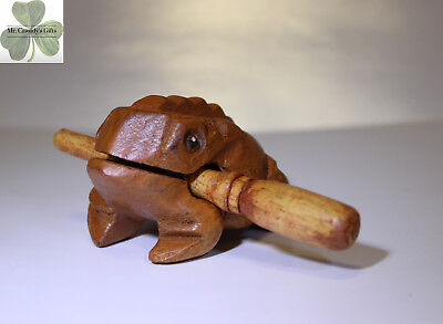 Frog, Guiro Rasp, Wooden Musical Toy, Natural Wood Color, 2 inch size