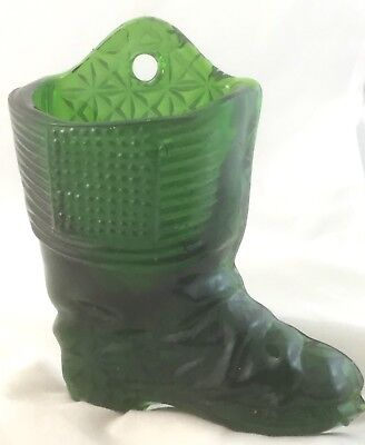 Fenton? Green Depression Glass Boot - Shoe Wall Pocket Thistle Bud Vase Art Deco