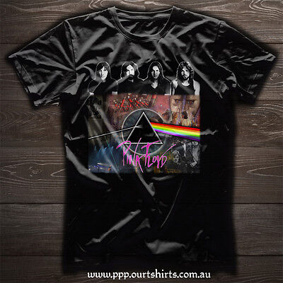 Pink Floyd psychedelic band Collage Wall dark side of the moon black tee T shirt