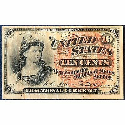 10 Cent U.S. Fractional Currency Note - Bust of Liberty - Free Shipping USA