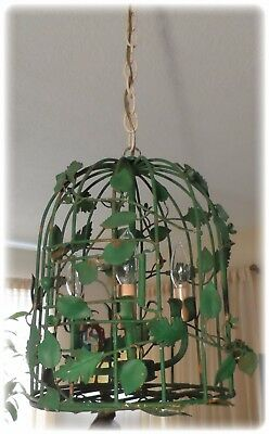 Antique Vintage Shabby Chic Tole Bird Cage Chandelier With a Bird