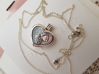 New Genuine Boxed Pandora floating heart Christmas charm locket necklace RRP£179