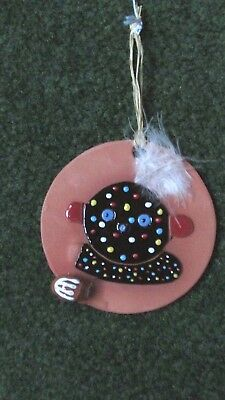 Native American Hand Painted Kachina Zuni Fire God Ornament Signed By Elena New