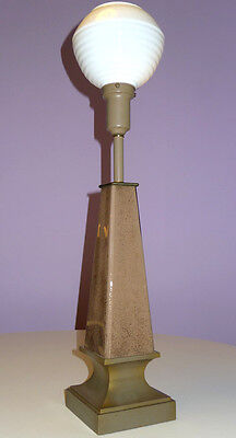 REMBRANDT ART DECO REVERSE GLASS OBELISK TABLE LAMP w/ OPAL MILK WHITE SHADE