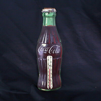 """Vintage Coca-Cola Advertising Thermometer 16.25"""" Robertson USA Coke Bottle Sign"""