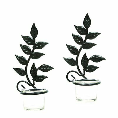 Home Decor Pair of Wrought Iron Hanging Wall Art Candle-holder Accent Sconces