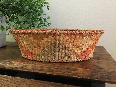 Small Vintage  Oval Multicolored Basket Very Finely Woven
