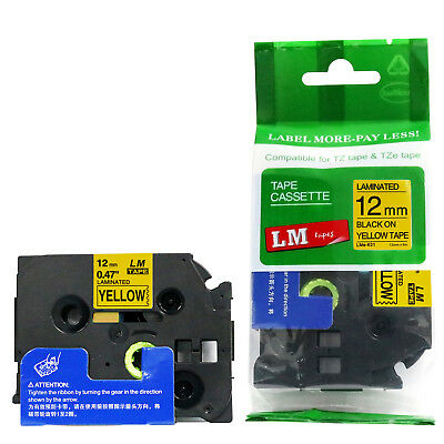 Brother TZe-631 1/2 Black on Yellow P-touch tape 12mm TZ631 TZe631 Replacement