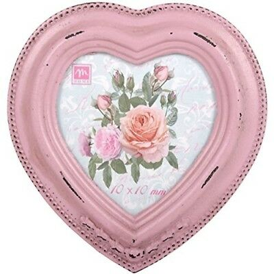Chic Wooden Photo Picture Frame Pink Heart Vintage Victorian Antique Style