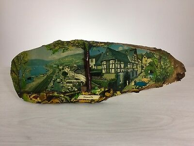 mid century wood décor black forest German 1950 city art deco shop sign display