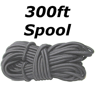 "300ft 3/8"" Black Shock Cord Marine Grade Bungee Heavy Duty Tie Down Stretch Rope"