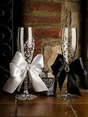 Hand Painted Wedding Bride and Groom champagne flutes glasses with ribbons