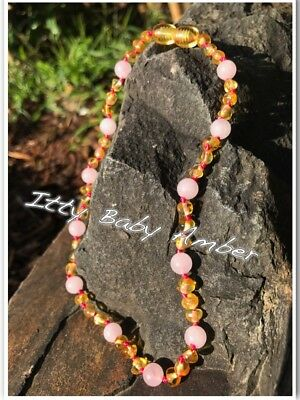 Certified BALTIC Amber Necklace for Toddler/baby child - Lemon & Rose Quartz