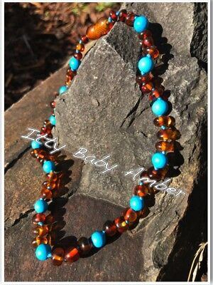 Certified BALTIC Amber Necklace for Toddler/baby child - COGNAC/TURQUOISE