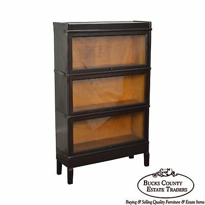Macey Antique Mahogany 3 Stacking Barrister Bookcase