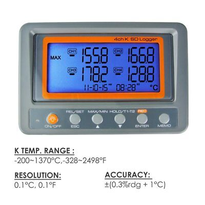 4 Channels K-type Thermocouple Thermometer SD Card Logger High / Low Alarm