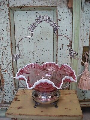 Antique Silver BRIDE'S BASKET Cranberry Thumbprint Glass Snow Crest Ruffled Bowl