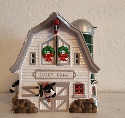 Dept. 56 Snow Village Dairy Barn Farm Handpainted Ceramic Cows Christmas Holiday