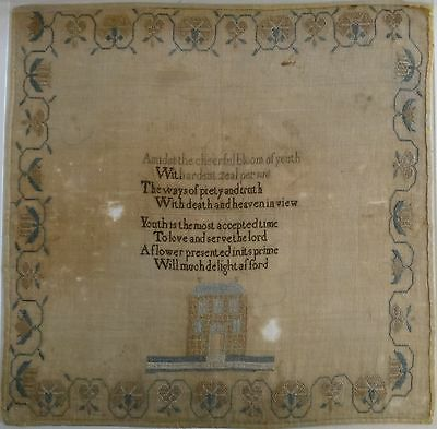 "Fantastic Lg. Needlepoint Sampler. Adapted for youth Hymns, 18th/19thc. 21"" x 21"