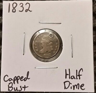 1832 Capped Bust Half Dime! 89% Silver! Holed!