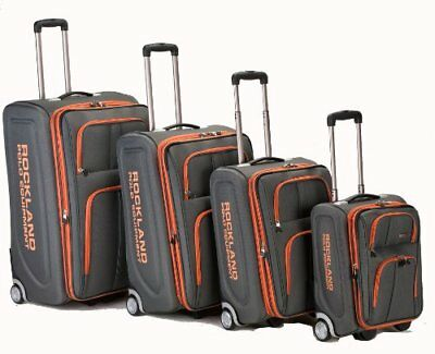 Rockland Luggage Varsity Polo Equipment 4 Piece Luggage Set Charcoal One Size