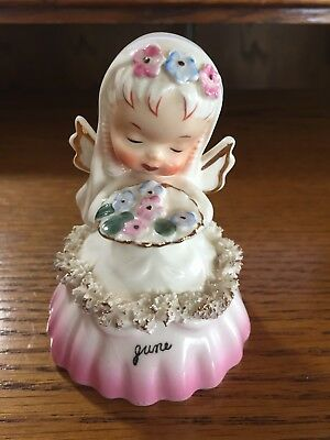 "1956 ""napco"" Bell Figurine June Angel Holding A Bride's Bouquet S1307F"