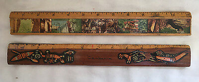 2 Old Wooden Rulers  Reduced