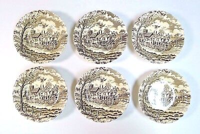 "Set of 6 Vintage Royal Mail 5"" Bowl Brown Transfer Staffordshire Ware England"